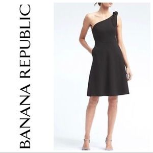 One shoulder ponte fit and flare dress worn once